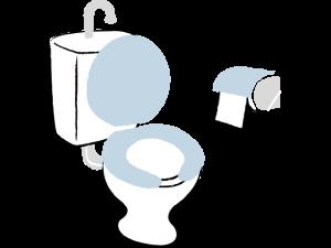トイレとトイレットペーパーのイラスト