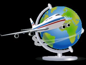 地球儀と飛行機のイラスト